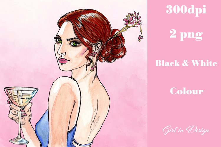 Hairpin Girl New Year Clipart example image 1