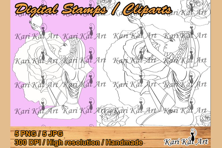 Digital stamp Cleopatra, queen and magician, beautiful woman example image 1