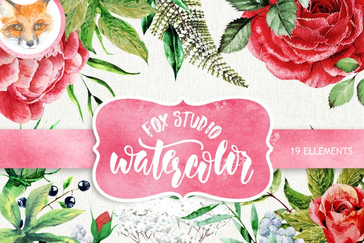 Wedding Watercolor Flowers, English Roses, Brunia, Fern