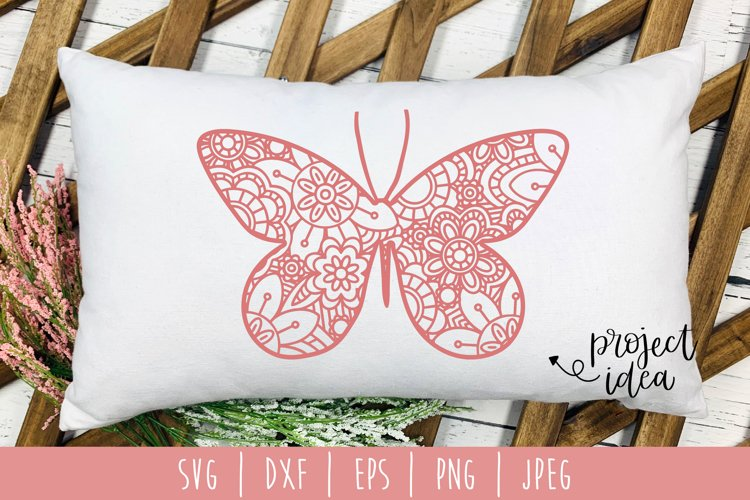 Butterfly Mandala Zentangle SVG, DXF, EPS, PNG, JPEG example image 1