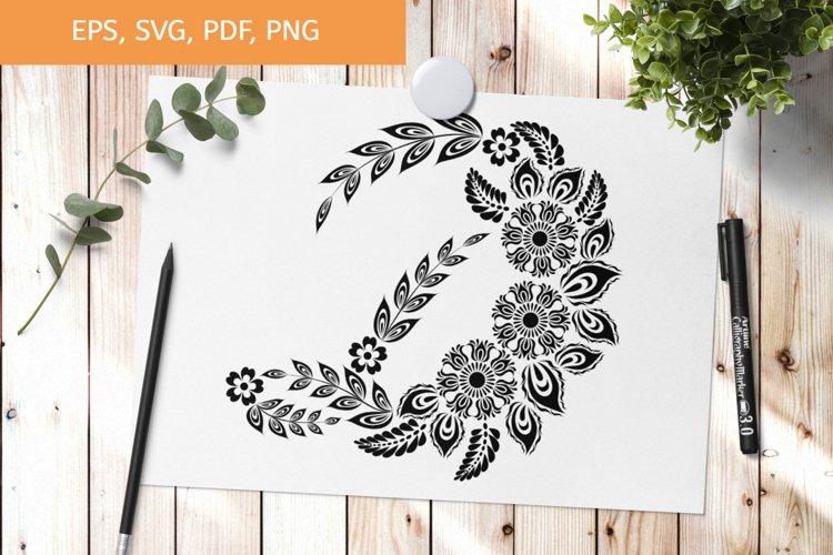 Initial monogram letter D SVG, floral alphabet letter example image 1