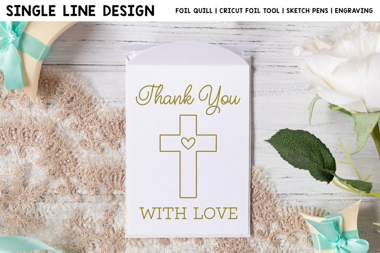 Baptism Thank You Card Single Line Design For Foil Quill