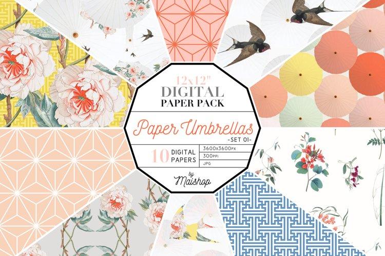 "Digital Paper Pack ""Paper Umbrellas"" Set 01 example image 1"