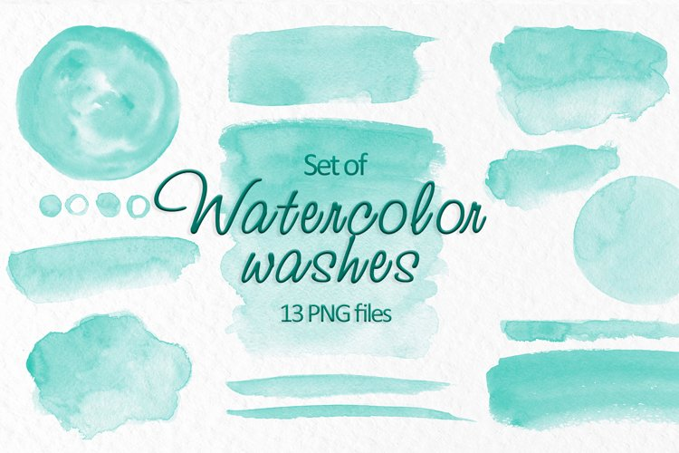 Turquoise watercolor washes clipart Wedding Invitation decor example image 1