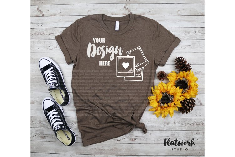 Fall Mockup | Bella Canvas 3001 T-shirt | Heather Brown example image 1