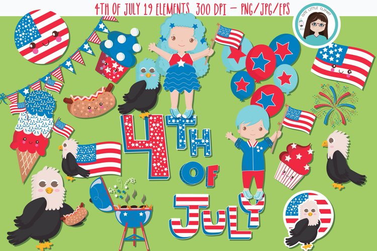 4th of July blue Hair clipart