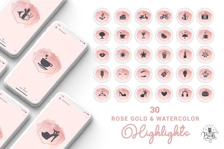Pink Watercolor Instagram Highlight Covers, Highlight Icons example image 1