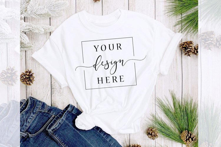 Christmas Winter T-Shirt Mockup In Rustic Farm House Style example image 1