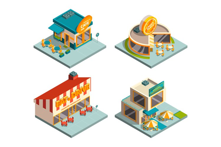 City cafe buildings. Isometric pictures example image 1