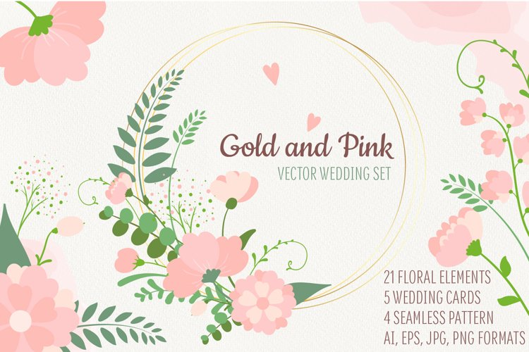 Gold&Pink. Vector floral set example image 1