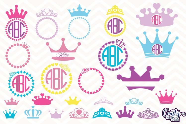 Crown Svg, Princess Crown Svg, Crown Monogram Svg, Split