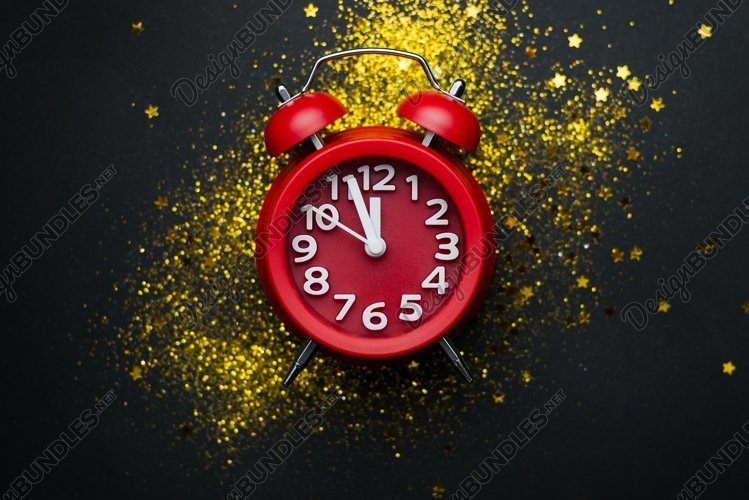 New year or Christmas background with a clock example image 1
