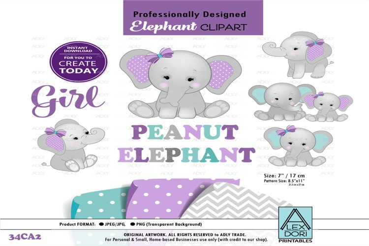 Elephant Mommy and Little Peanut with Purple Bow,Clip Art example image 1