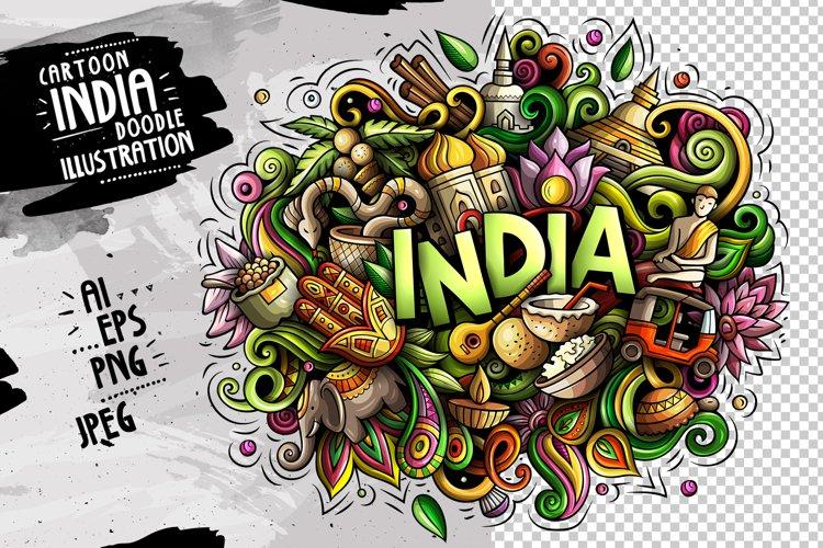 INDIA Cartoon Doodle Illustration example image 1
