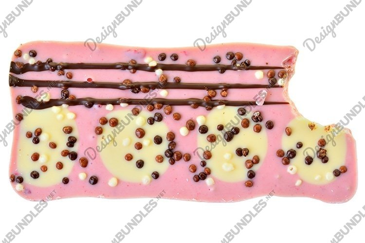 Stock Photo - Pink chocolate with strawberries isolated example image 1