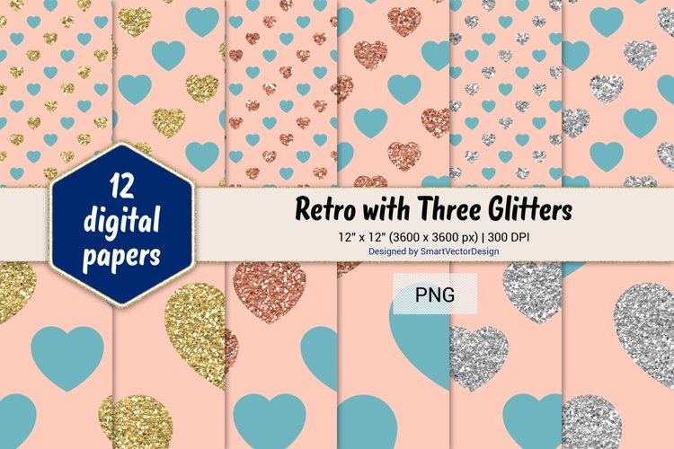 Hearts Retro with Three Glitters Color Combo #47 example image 1