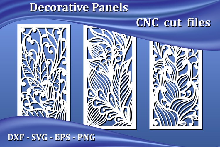 Decorative panels, laser cut files for Cnc. Floral pattern example image 1