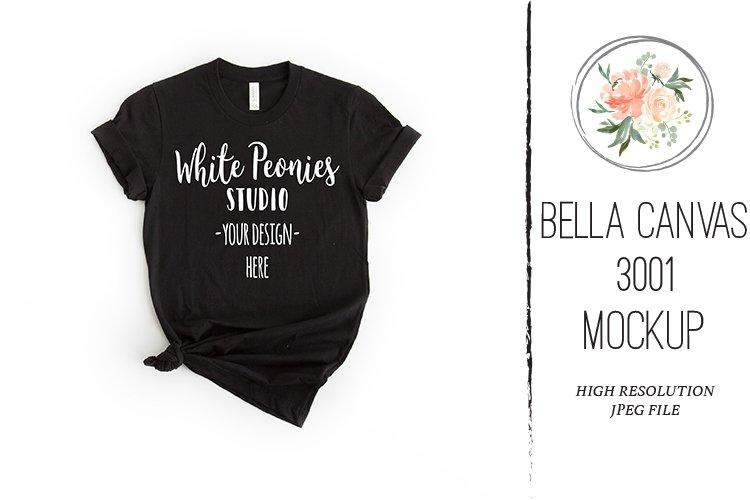 Black Bella Canvas 3001 Shirt Mockup knotted example image 1