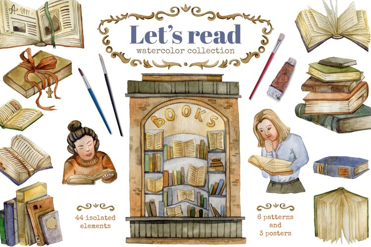 Lets read. Watercolor collection