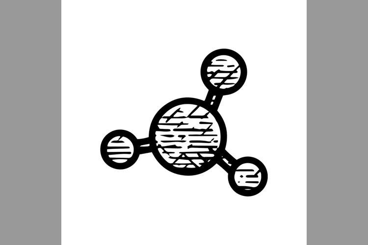 hand drawn molecule symbol line icon, Vector Illustration example image 1