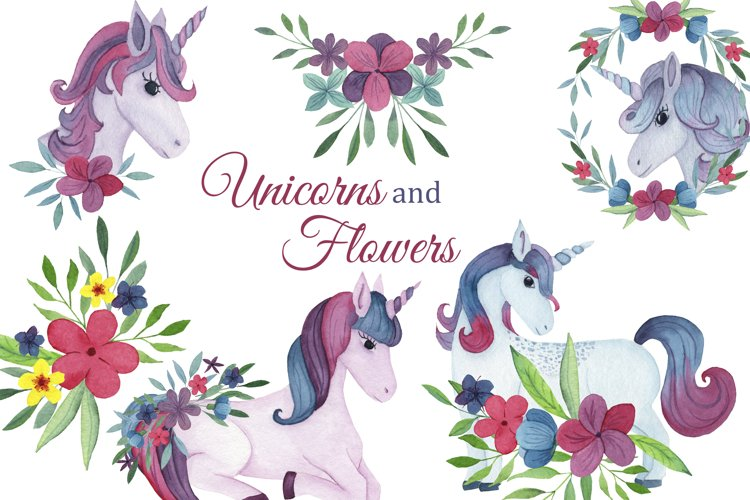 Watercolor Unicorns clipart, pink floral png