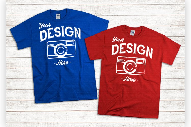 Red And Blue Tshirt Mockups American Flatlay Unisex Shirts example image 1