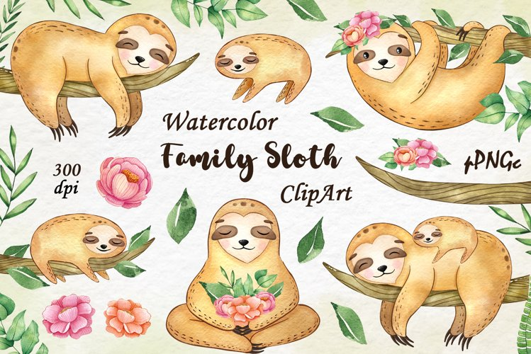 Watercolor family sloth clipart, Sloth Tropical Clipart