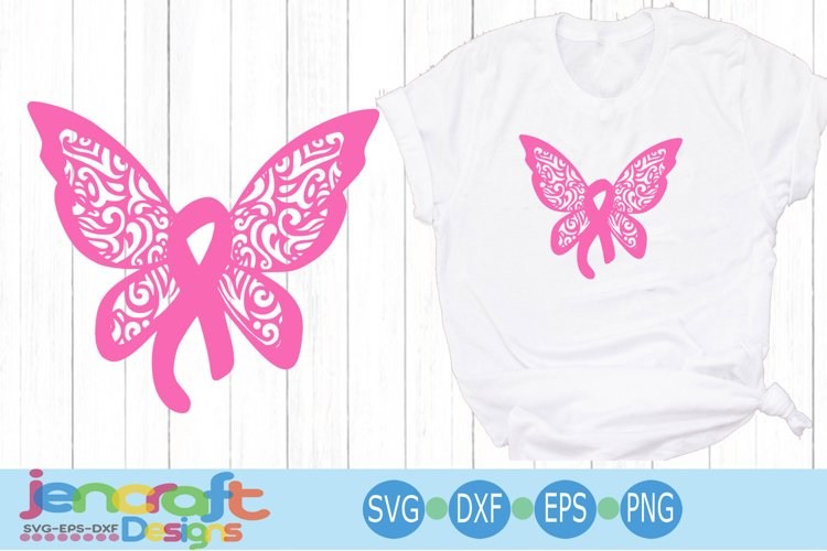 Filigree Awareness Butterfly Breast Cancer Awareness Ribbon
