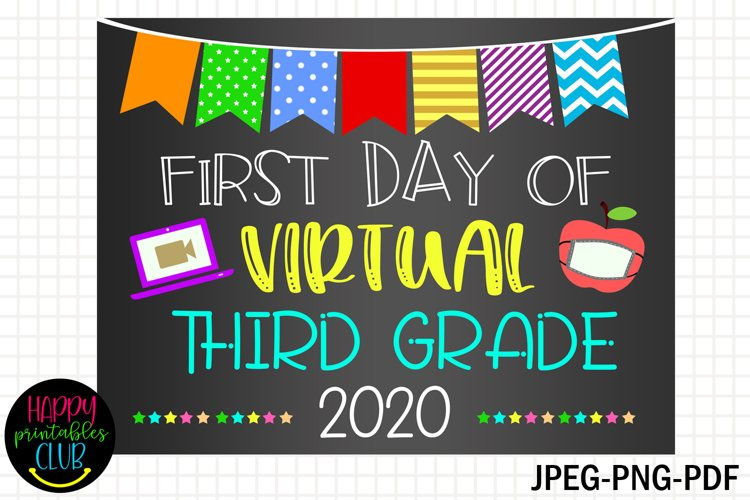 First Day Virtual Third Grade Sign- First Day of Third Grade example image 1