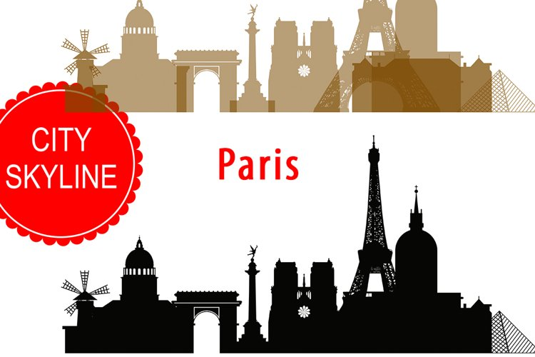 Paris Skyline Vector  SVG, JPG, PNG, DWG, CDR, EPS, AI example image 1