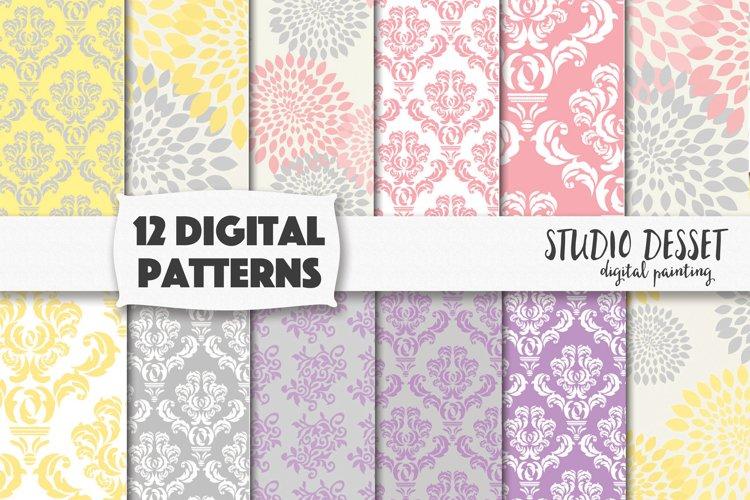 Damask Digital Patterns - Floral Pastel Backgrounds example image 1