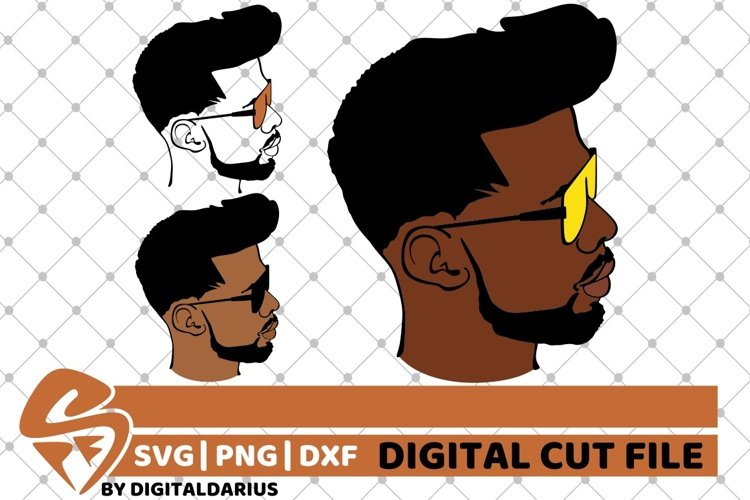 3x Sexy Black Boy with glasses svg, Afro man svg, Beard svg example image 1