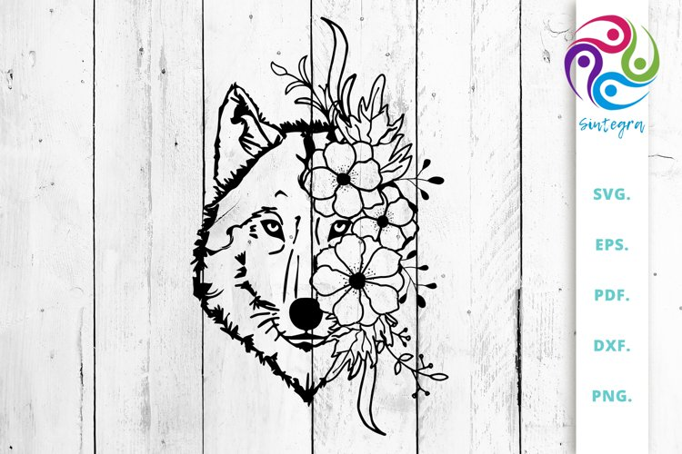 Wolf with Flowers Svg Cut Files example image 1