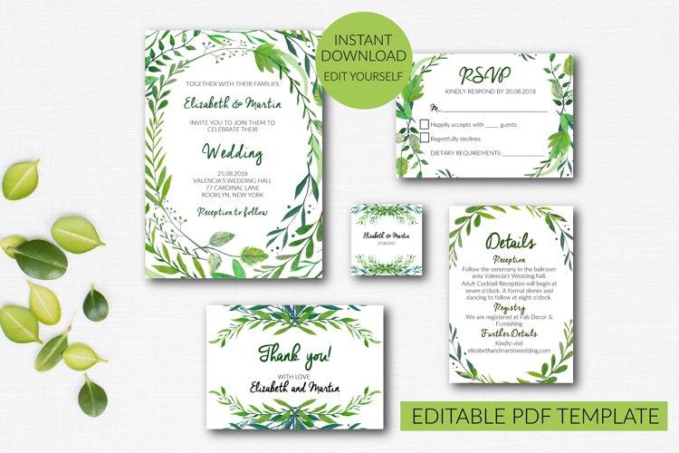 Botannical Wedding Invitation Suite example image 1