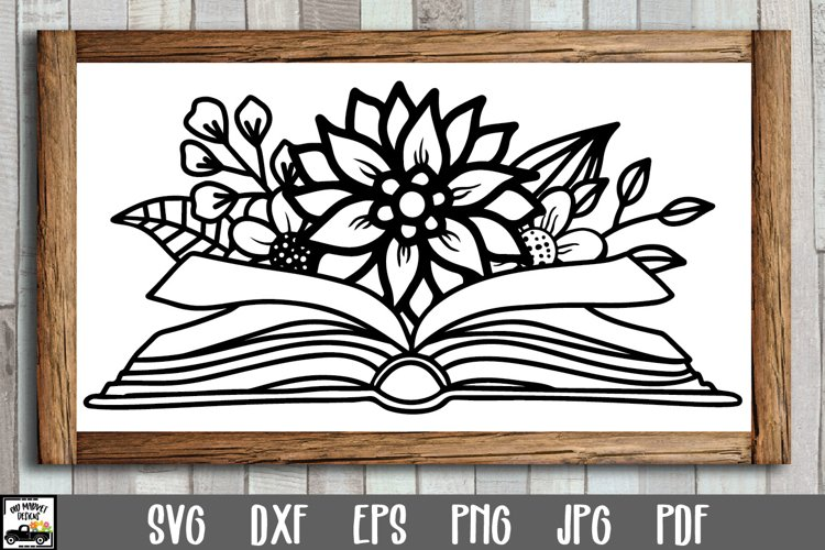 Book with Flowers SVG File - Floral Open Book SVG