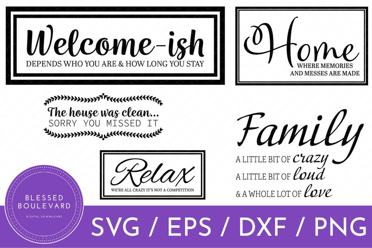 Funny Home Decor Cut File Bundle | SVG |EPS | DXF |PNG example image 1