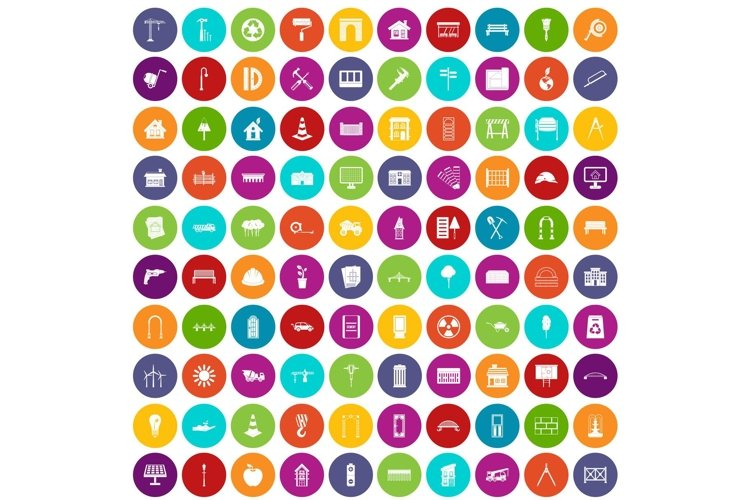 100 architecture icons set color example image 1