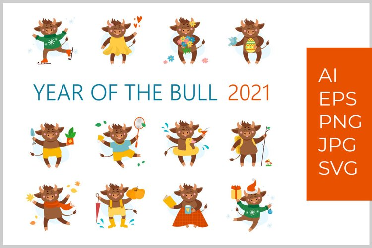 Year of bull, ox or cow 2021 illustration vector collection