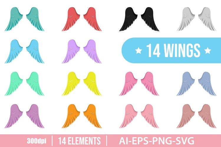 Set of angel wings clipart vector design illustration