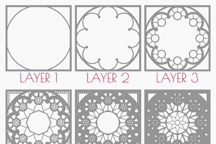 Layered Mandala SVG, 3D Mandala SVG, Laser Cut Mandala - D01 example 2