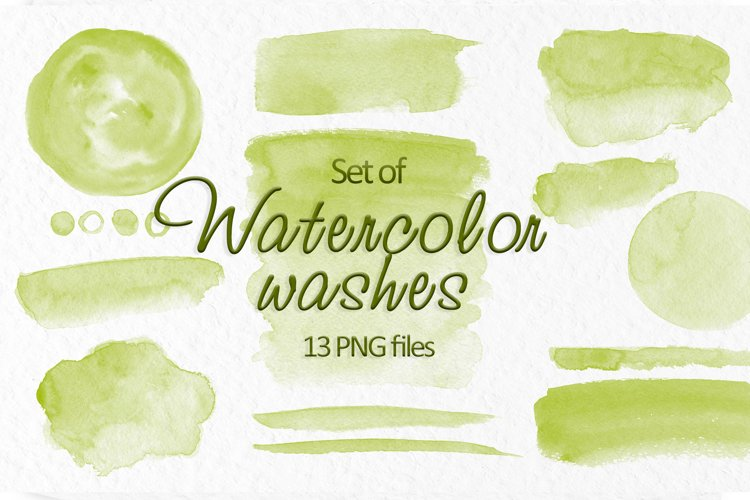 Olive green watercolor stains Wedding Invitation background example image 1