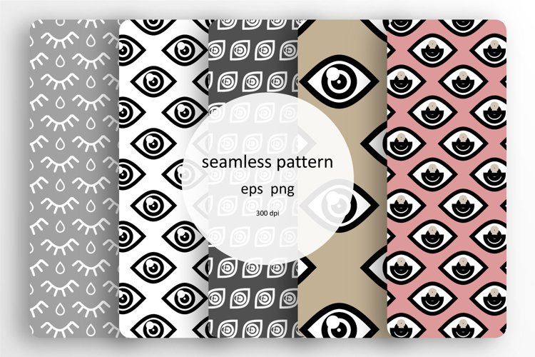 5 Seamless patterns set with different eyes example image 1