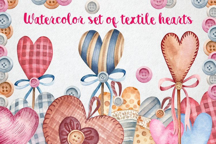 Watercolor set of textile hearts example image 1