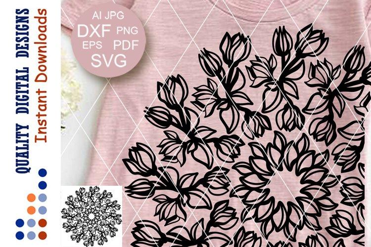 Floral Mandala Magnolia clip art SVG files for Cricut