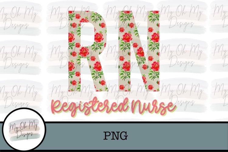 Registered Nurse, RN, Floral - PNG Sublimation File example image 1