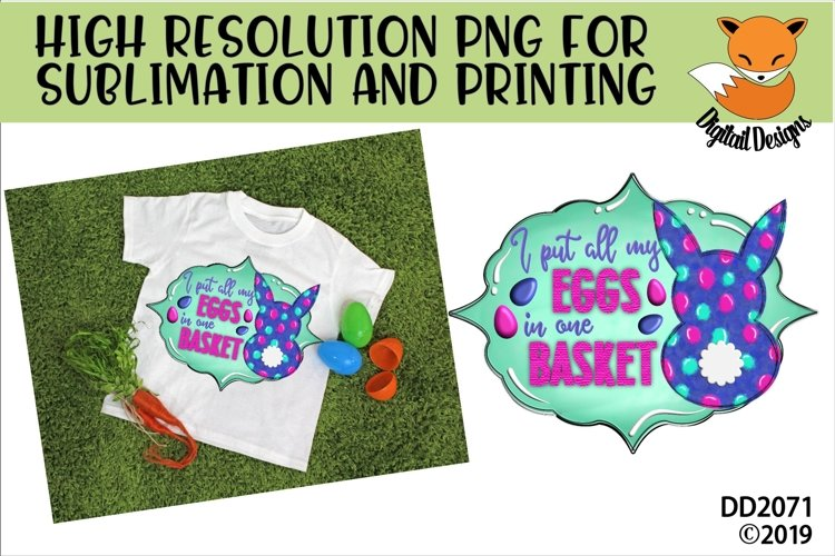 Easter Bunny Eggs In One Basket Sublimation example image 1