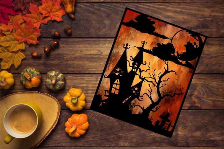 Halloween SVG, Halloween Papercut Template, Fall Decor example image 1