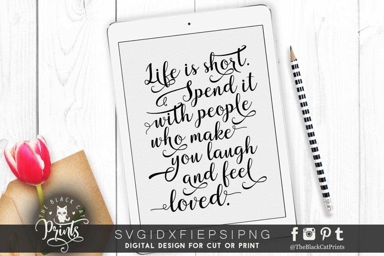 Life is short - Inspirational quote SVG DXF PNG EPS example image 1