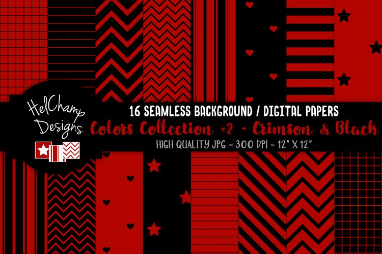 16 seamless Digital Papers - Crimson and Black- HC148 example image 1