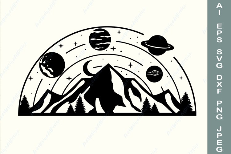 Planet clipart svg, Nature svg, Mountain svg, Travel svg